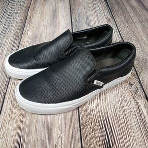 Van's Classic black leather slip ons perforated
